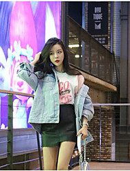Giacca di jeans Da donna Per uscire Casual Top Primavera,Lettere & Numeri Colletto Jeans Standard Manica lunga