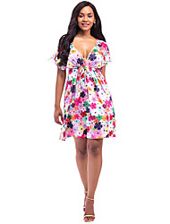 Women's Sexy Deep V Daily Loose Floral Print Check Above Knee Short Sleeve Beach High-rise Dress