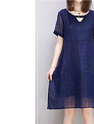 Damen Tunika Kleid-Ausgehen Lässig/Alltäglich Solide V-Ausschnitt Knielang Kurzarm Baumwolle Polyester Frühling Sommer Mittlere Hüfthöhe