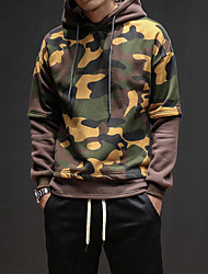 Men's Going out Casual/Daily Vintage Hoodie Print Hooded Micro-elastic Cotton Polyester Long Sleeve Winter