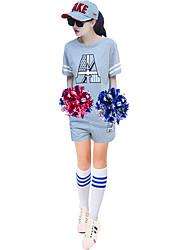 Costumes de Pom-Pom Girl Tenue Femme Spectacle Polyester 2 Pièces Manche courte Taille haute Jupes Hauts