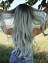 Heat Resistant Long Dark Root Body Wave Mermaid Ombre Mint Milk Green Synthetic Lace Front Wig for Women Beauty Girls' Wig for Cosplay or Daily Using