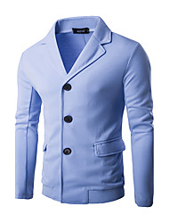 Men's Casual/Daily Street chic Winter Blazer,Solid Shirt Collar Long Sleeve Regular Polyester