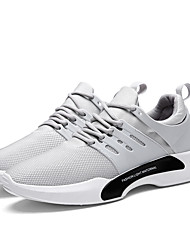 Men's Sneakers Comfort Light Soles Net Summer Fall Athletic Casual Comfort Light Soles Lace-up Flat Heel Light Grey Gray Black Flat