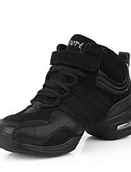 Для женщин Танцевальные кроссовки Тюль Кроссовки Для открытой площадки Планка На плоской подошве Черный Черный и золотой 2,5 - 4,5 см