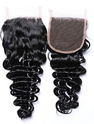 venta caliente&Popular 8-20 encierra la tapa brasileña negra natural del pelo humano 4x4 de la onda profunda negra del grado 8a