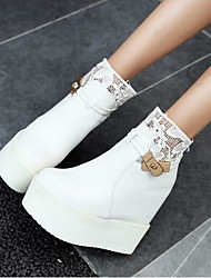 Women's Boots Comfort Fashion Boots PU Winter Casual Comfort Fashion Boots Black White 2in-2 3/4in