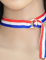 Women's Choker Necklaces Striped Fabric Alloy Euramerican Fashion Jewelry 1pc