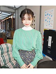 Feminino Camisa Social Diário Simples Listrado Raiom Poliéster 100% algodão Colarinho de Camisa Manga Longa