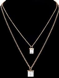 Mujer Collares con colgantes Collares de cadena Collares en capas Forma Cuadrada LegierungDiseño Único Colgante Amistad Gótico joyería