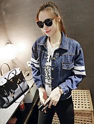 Giacca di jeans Da donna Quotidiano Semplice Primavera/Autunno,Tinta unita Colletto Jeans Corto Manica lunga