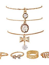 1Set  Women's Chain Bracelet Stud Earrings Pendant Necklaces Unique Design Pendant Hip-Hop Simple Style Rhinestone Metal Alloy Geometric For