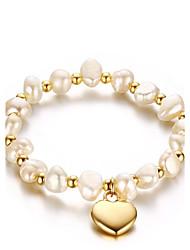 Femme Chaînes & Bracelets Perle Vintage Mode Perle Acier au titane Forme de Coeur Bijoux Pour Mariage Fête/Soirée Athlétique Fiançailles