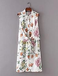 Для женщин На выход На каждый день Простое Уличный стиль Свободный силуэт Прямое Платье Цветочный принт Деревья / Листья,Рубашечный