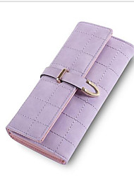 Women Checkbook Wallet PU All Seasons Casual Square Magnetic Light Purple Gray Pale Pink