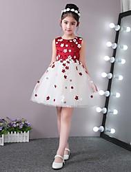 Princesa curta / mini vestido de garota de flores - colar de pérolas sem mangas e pérolas com pétalas de pérolas