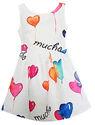 Girls Heart Print Flower Dresses Party Birthday Pageant Dress Summer and Autumn Kids Clothing