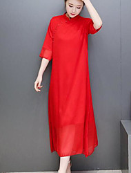 Women's Casual/Daily Simple Chiffon Dress,Solid Jewel Midi 3/4 Length Sleeve Cotton Summer Mid Rise Micro-elastic Thin