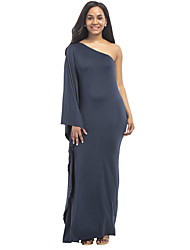 Women's Solid One Shoulder Party Club Bodycon Plus Size Sexy Sheath Ruffle Side Maxi Dress