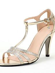 Для женщин Сандалии Обувь через палец Лак Полиуретан Лето Осень Свадьба Для праздника Для вечеринки / ужина Обувь через палецСтразы