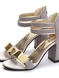 Women's Sandals Club Shoes PU Spring Summer Casual Dress Club Shoes Buckle Wedge Heel Black Beige Gray Ruby 3in-3 3/4in