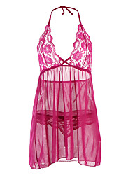 Women's Plus Size Sexy Lace Babydoll & Slips NightwearSexy Lace Solid-Translucent