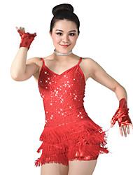 MiDee Dresses Performance Spandex / Paillettes / Sequins / Tassel(s) 5 Pieces Latin Dance Sleeveless NaturalDress /