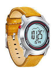 Women's Men's Fashion Watch Digital Genuine Leather Band Yellow