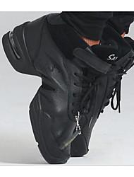 Women's Modern Real Leather Glitter Flats Heels Practice Black