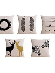 5 pcs High Quality Linen Pillow case Bed Pillow Body Pillow Travel Pillow Sofa Cushion Pillow CoverAnimal Graphic Prints Black & WhiteArtistic
