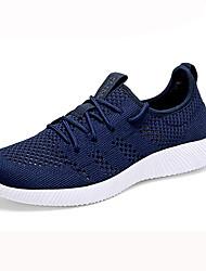 Femme Chaussures d'Athlétisme Confort Polyuréthane Printemps Automne Décontracté Marche Lacet Talon Plat Noir Bleu de minuit 5 à 7 cm