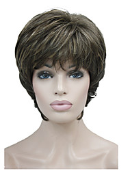 New Arrival Short Straight Brown Highlights Synthetic Hair Full wig Women's Thick Wigs For Everyday