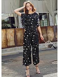 Для женщин Мода Простой Комбинезоны,На каждый день Свободные С короткими рукавами Круглый вырез Лето