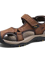 Herren Sandalen Komfort Nappaleder Sommer Herbst Wasser-Schuhe Komfort Klettverschluss Flacher Absatz Hellbraun Dunkelbraun Khaki Flach