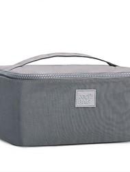 Women Cosmetic Bag Nylon All Seasons Casual Baguette Zipper Fuchsia Gray