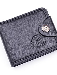 Men Money Clip PU Polyester All Seasons Shopping Daily Casual Rectangular Snap Dark Coffee Coffee Black