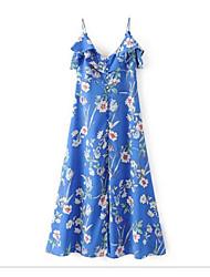 Damen Tunika Chiffon Kleid-Lässig/Alltäglich Solide Blumen Druck Gurt Midi Ärmellos Baumwolle Andere Sommer Mittlere Hüfthöhe Unelastisch