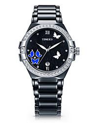 Mulheres Relógio de Moda Quartzo Cerâmica Banda Preta