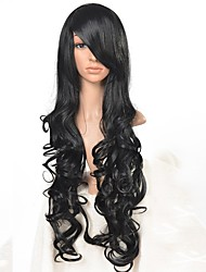 Long Wavy Black  Synthetic Wig High Temperature Fiber Synthetic Hair Afro Wig for Women