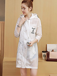 Women's Daily Contemporary Spring/Fall Coat,Solid Hooded Long Sleeve Long Polyester