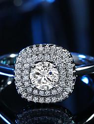 Damen Ring Kubikzirkonia Klassisch Elegant Platin Kubikzirkonia Quadatische Form Schmuck Für Hochzeit Party Verlobung Alltag Zeremonie