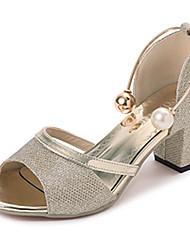 Damen Sandalen Komfort PU Sommer Kleid Komfort Perle Schnalle Blockabsatz Gold Silber 5 - 7 cm