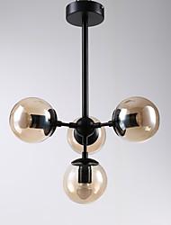 Четыре головы пост современный европы стиль мода металлический стеклянный подвесной светильник для спальни / гостиной / фойе украшают