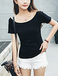 Damen Solide Einfach Lässig/Alltäglich T-shirt,Bateau Sommer Kurzarm Baumwolle Dünn