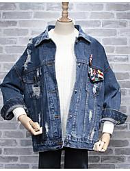Veste en jean Femme,Couleur Pleine Quotidien Décontracté Printemps Automne Manches longues Col de Chemise Normal Coton