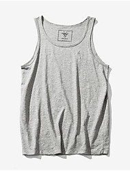 Men's Daily Casual Basketball Active Summer Tank Top,Solid Round Neck Sleeveless Cotton Thin