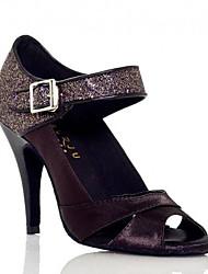 Damen Tanz-Turnschuh Echtes Leder PU Sandalen Sneakers Innen Blockabsatz Schwarz Purpur Mandelfarben 5 - 6,8 cm