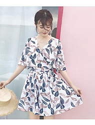 Women's Casual Patterned Summer T-shirt Dress Suits,Pattern V Neck ¾ Sleeve
