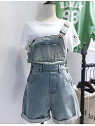 Для женщин Простой На каждый день Комбинезоны,С высокой талией Прямой силуэт Чистый цвет Мода Лето