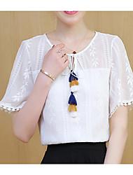 Damen Solide Einfach Alltag T-shirt,V-Ausschnitt Sommer Kurzarm Andere